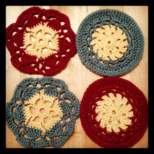 Crochet coasters http://www.acraftyginger.com