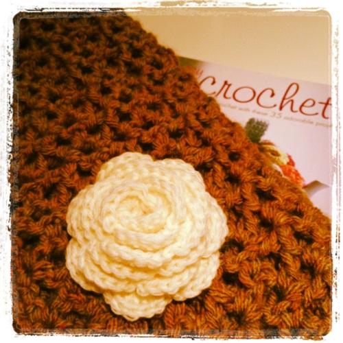 Crochet Scarf Rose Brooch http://www.acraftyginger.com